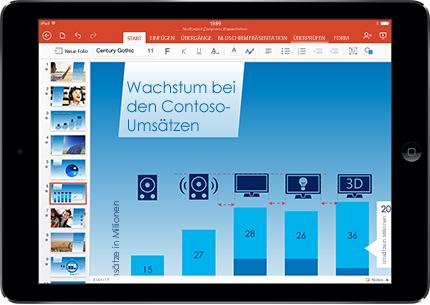 Ein Tablet mit einer PowerPoint-Folie im Präsentationsmodus mit Markup