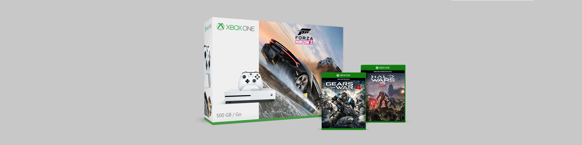 Xbox One S-Packung mit den zwei Spielen Gears of War 4 + Halo Wars 2