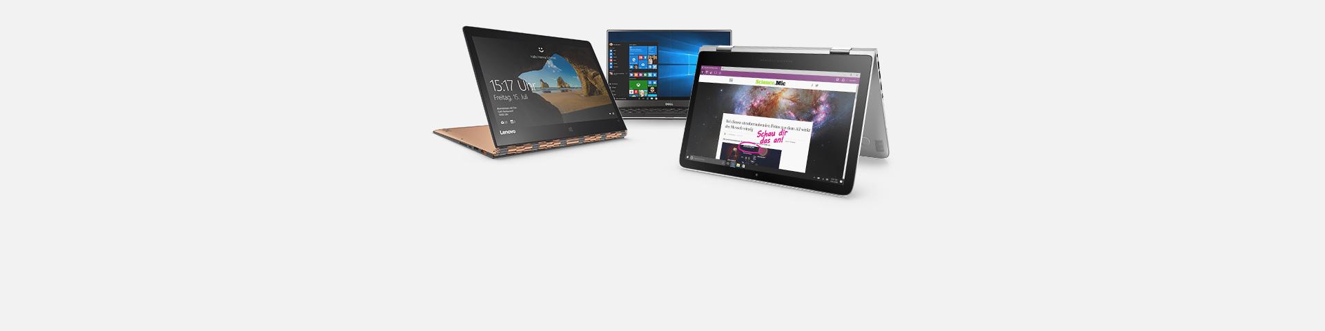 Drei Laptops