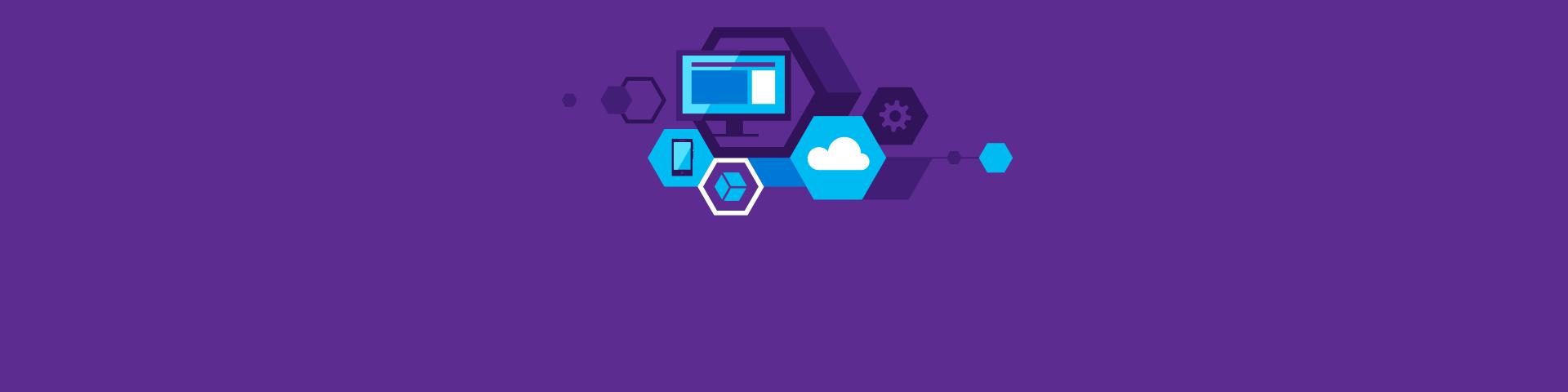 PC, Smartphone, Cloud und andere Technologiesymbole