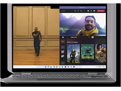 Ein Laptop-Bildschirm, auf dem ein Foto, ein Live-Teams-Videochat und die Fenster des Xbox Game Store in einem Snap-Assist-Raster dargestellt sind