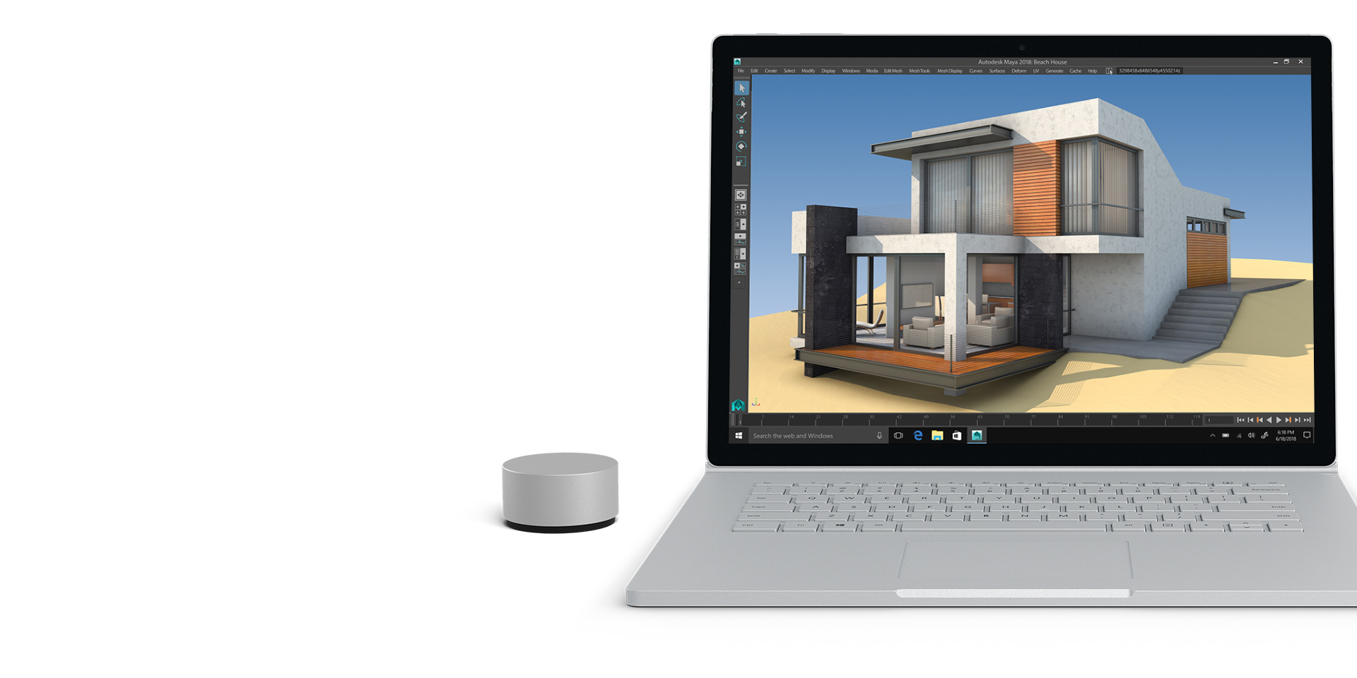 Surface Book 2-Display mit geöffnetem Autodesk Maya