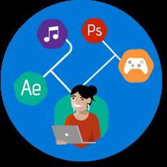 Intensive Grafik- oder Video-Workloads – Programme wie Adobe Premiere Pro, Drawboard, AutoDesk AutoCAD und SolidWorks als Antwortsymbol