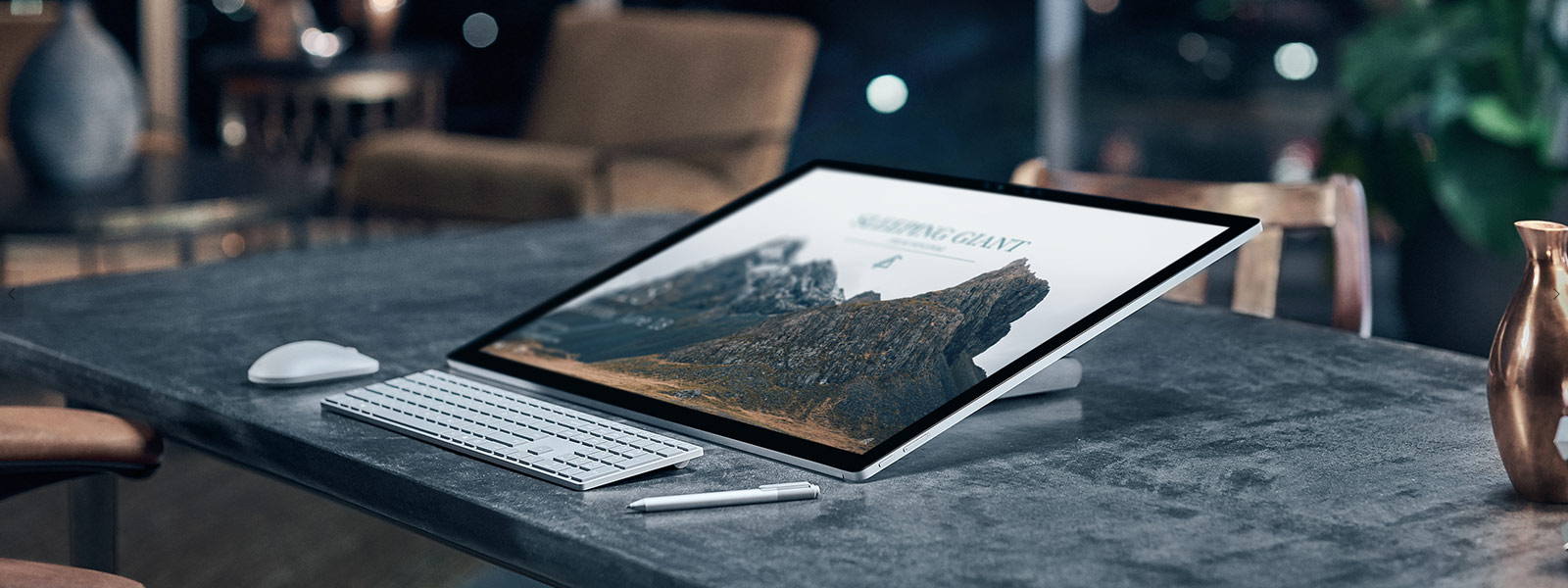Surface Studio  in Studio Mode with Surface Pen and mouse.