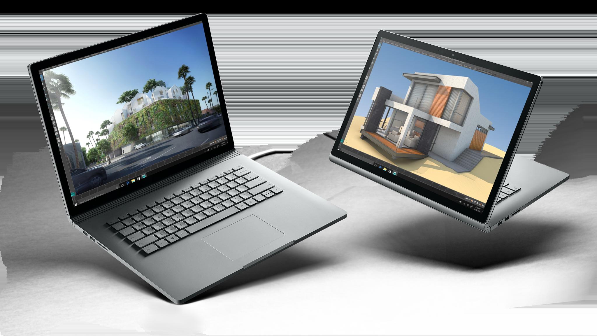 Zwei Surface Book 2-Geräte mit jeweils 13,5 und 15 Zoll nebeneinander