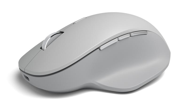 Die Surface Precision Mouse bietet eine Scrollfunktion und drei anpassbare Tasten für den Daumen.