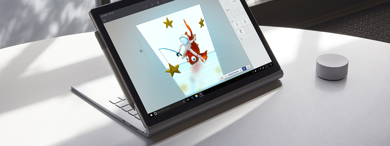 Freinhandfunktion in Paint 3D mit Surface Pen