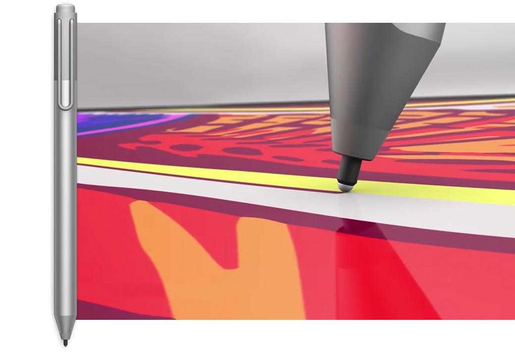 Surface-Stift neben der Nahaufnahme einer Surface-Stiftspitze, die etwas auf einem Bildschirm zeichnet