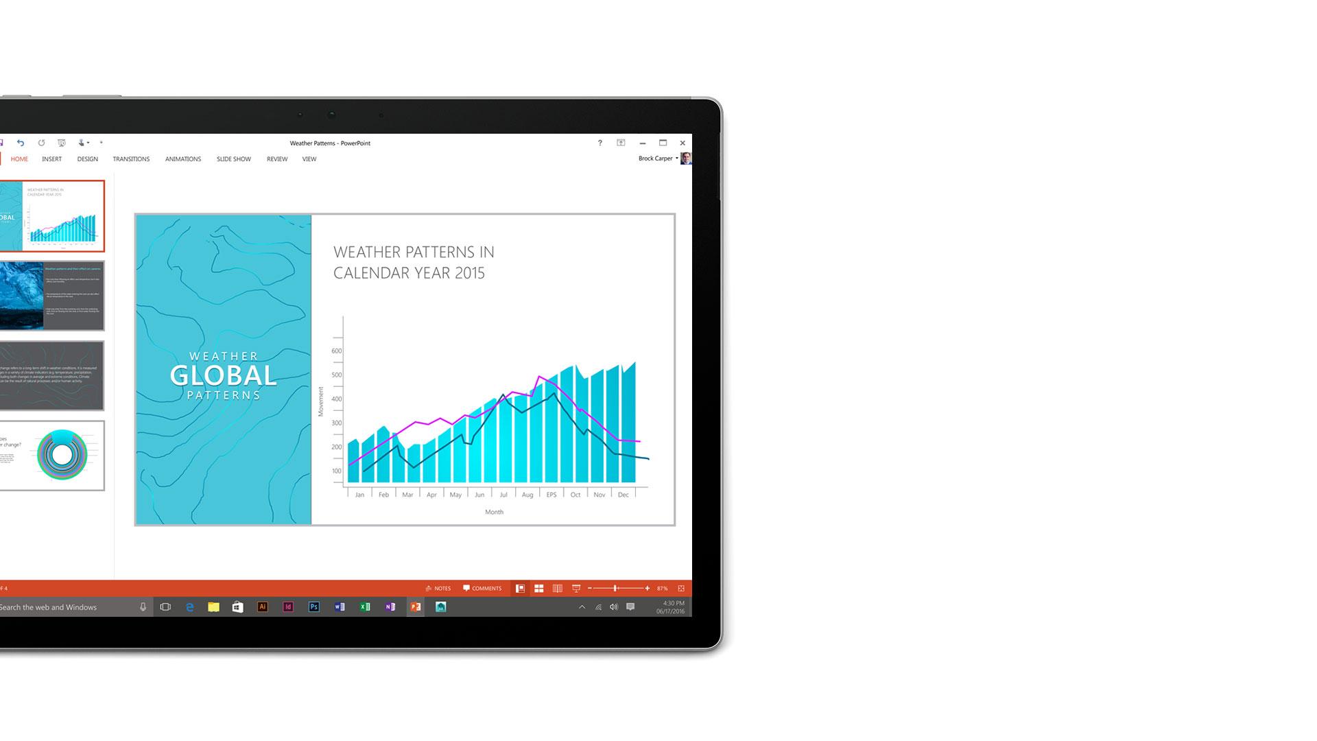 Surface Book-Display mit geöffnetem Microsoft PowerPoint