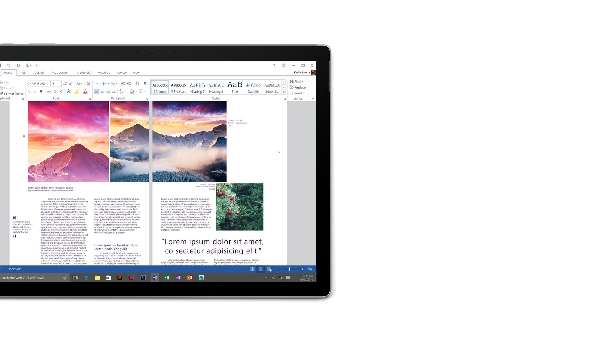 Surface Book-Display mit geöffnetem Microsoft Word