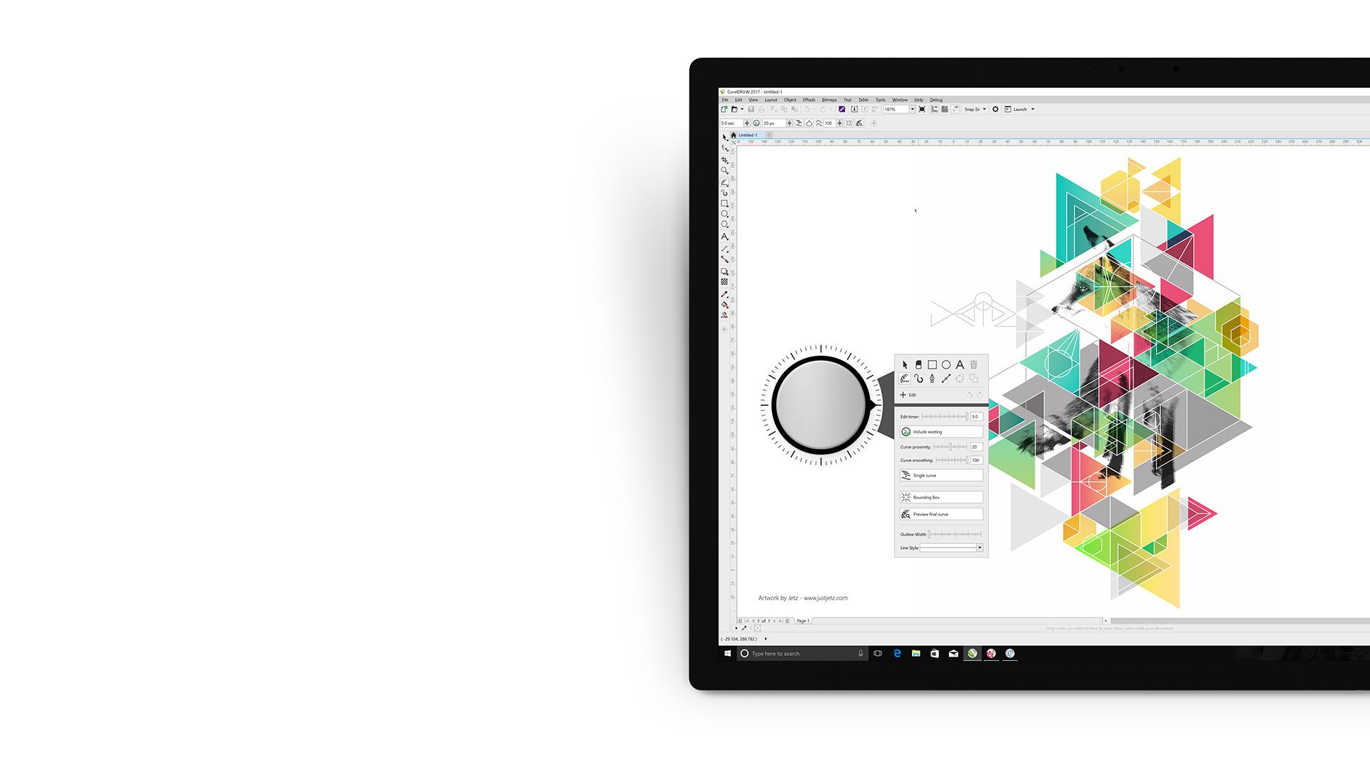 CorelDRAW Graphics Suite-App auf einem Surface-Gerät.