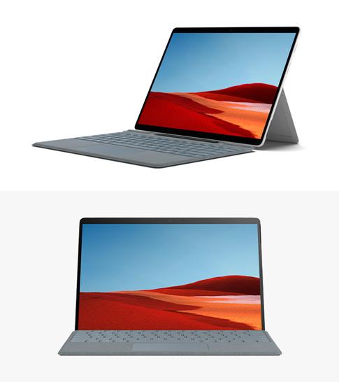 Surface Pro X-Seitenprofil mit Surface Pro X-Tastatur