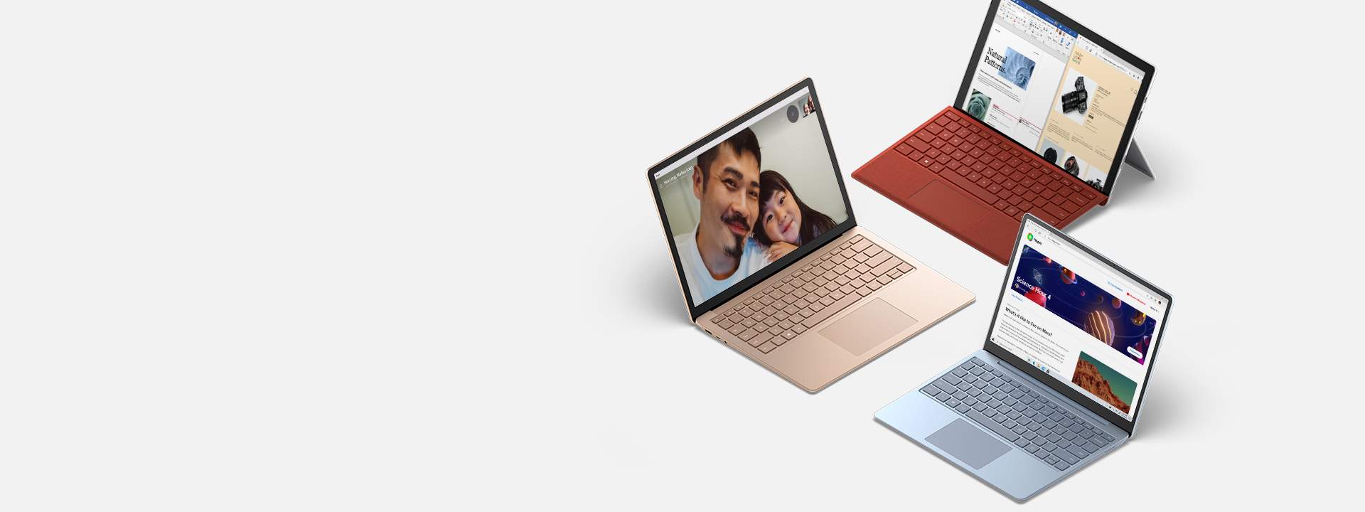 Surface Laptop, Surface Laptop Go und Surface Pro 7 mit verschiedenen Apps auf den Bildschirmen
