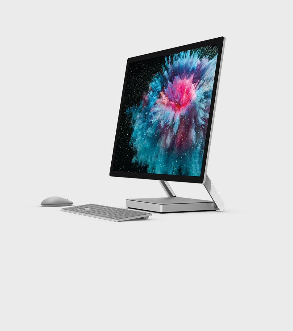 Surface Studio 2 mit Zubehör sowohl im Studio- als auch im aufrechten Modus