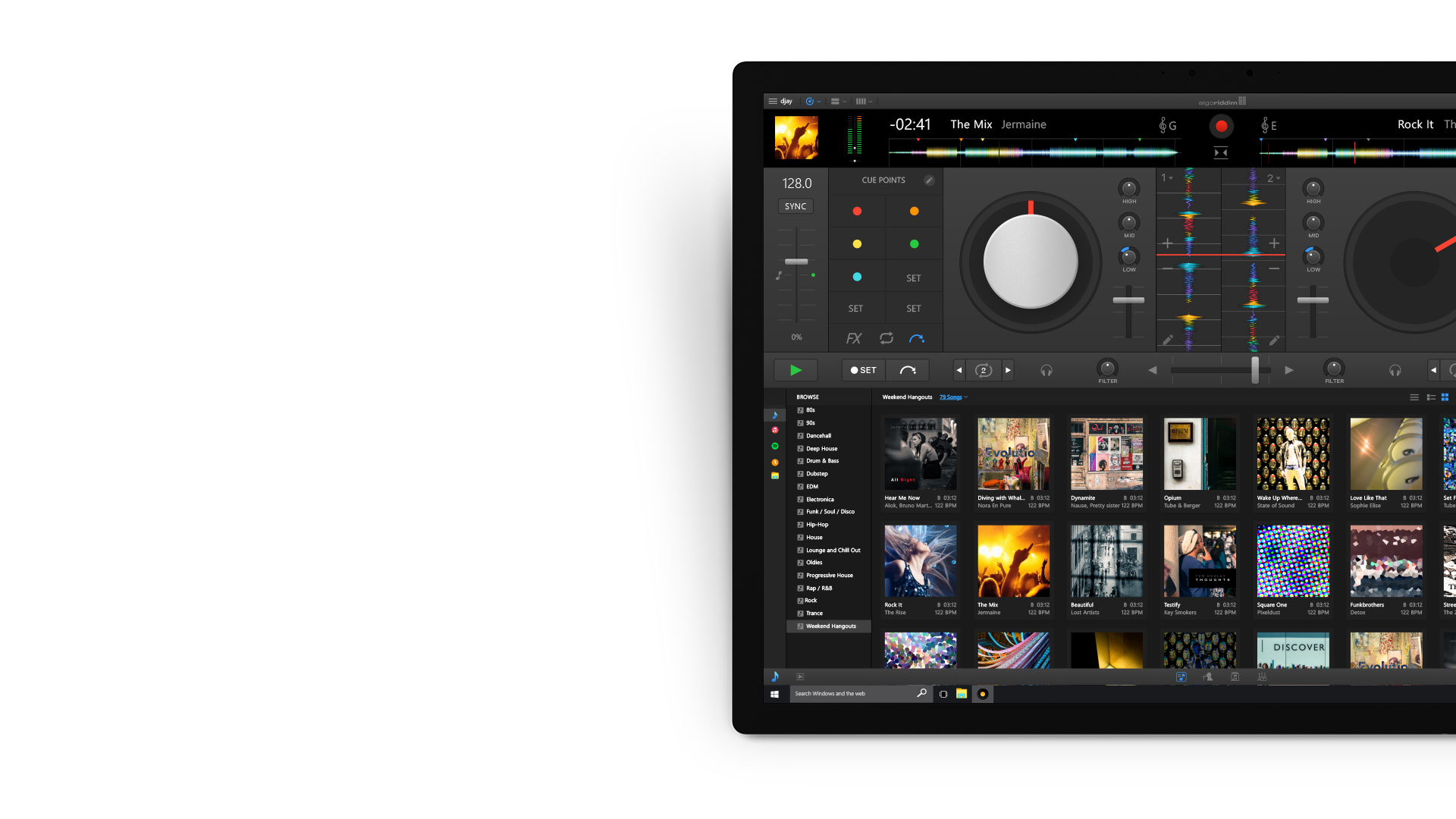Djay Pro-App auf einem Surface-Gerät.