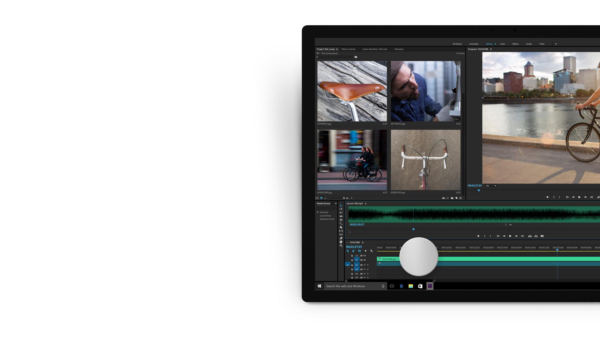 Adobe Premiere Pro CC-App auf einem Surface-Gerät.
