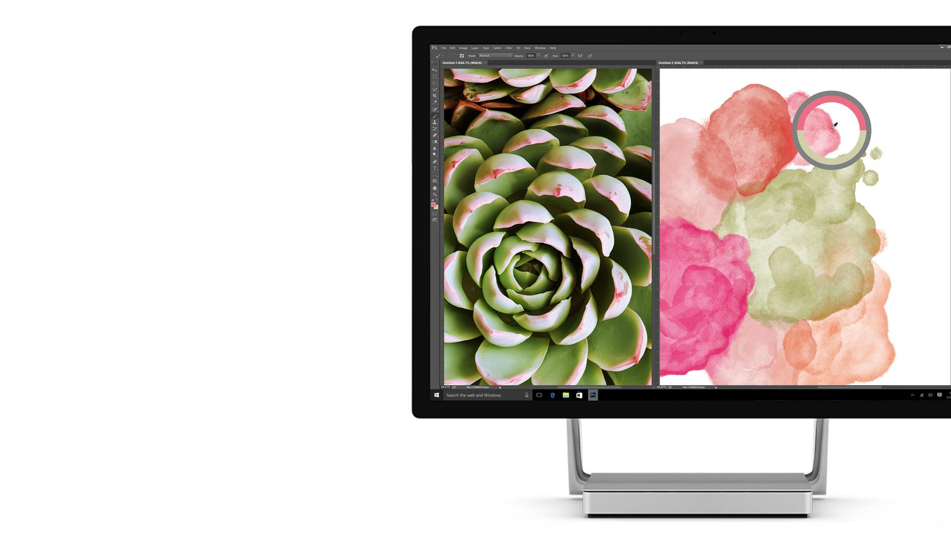 Surface Studio-Display mit geöffnetem Adobe Photoshop