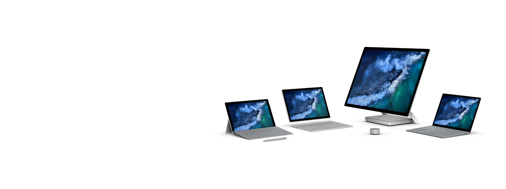 Die Surface-Familie: Surface Pro, Surface Laptop, Surface Book 2 und Surface Studio