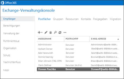 Nahaufnahme einer Seite im Exchange Admin Center, auf der Sie Ihr E-Mail-System verwalten können.