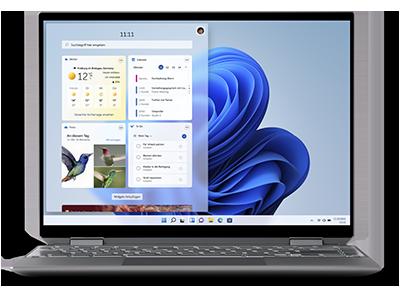 Ein Laptop-Bildschirm, auf dem das Widget-Panel mit Wetter-, Aufgaben-, Kalender- und Foto-Widgets auf der linken Seite zu sehen ist