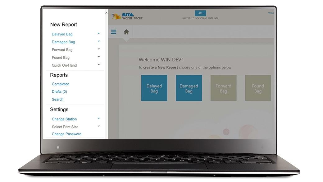 SITA WorldTracker Tablet-Bildschirm auf einem Gerät