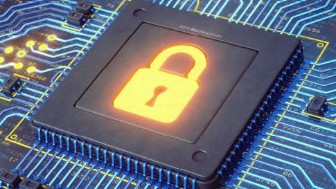 Bild von Schlosssymbol auf Computer-Mainframe