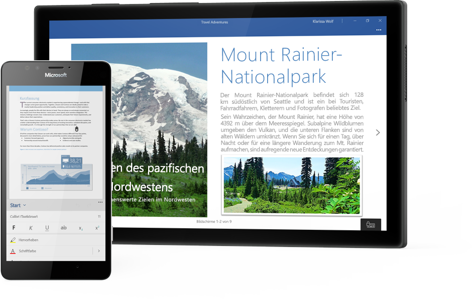 Windows-Tablet mit einem Word-Dokument zum Mount Rainier National Park und ein Smartphone mit einem Dokument in der Word Mobile-App