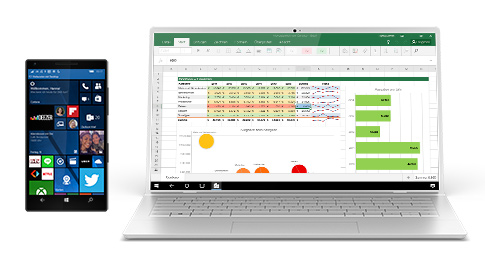 Windows 10-Smartphone, dessen Bildschirm auf einem Laptop angezeigt wird