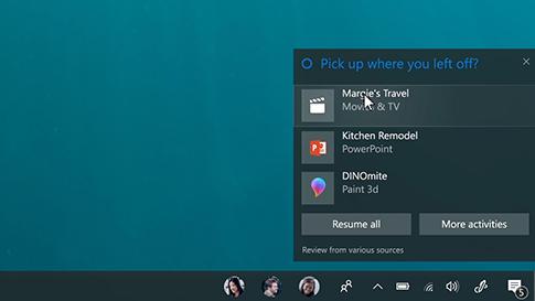 Benachrichtigung von Cortana zum letzten Stand Ihrer Aktivitäten auf anderen Geräten
