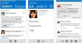 Drei Screenshots eines SharePoint Online-Newsfeeds auf unterschiedlichen mobilen Geräten