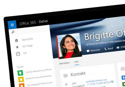 Ein Tablet mit dem Delve-Startbildschirm einer Person mit personalisierten Inhalten