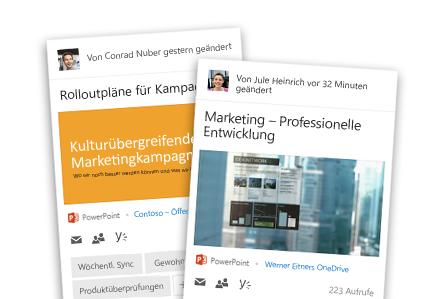 Zwei Nahaufnahmen der personalisierten Office 365-Inhalte eines Mitarbeiters in Delve