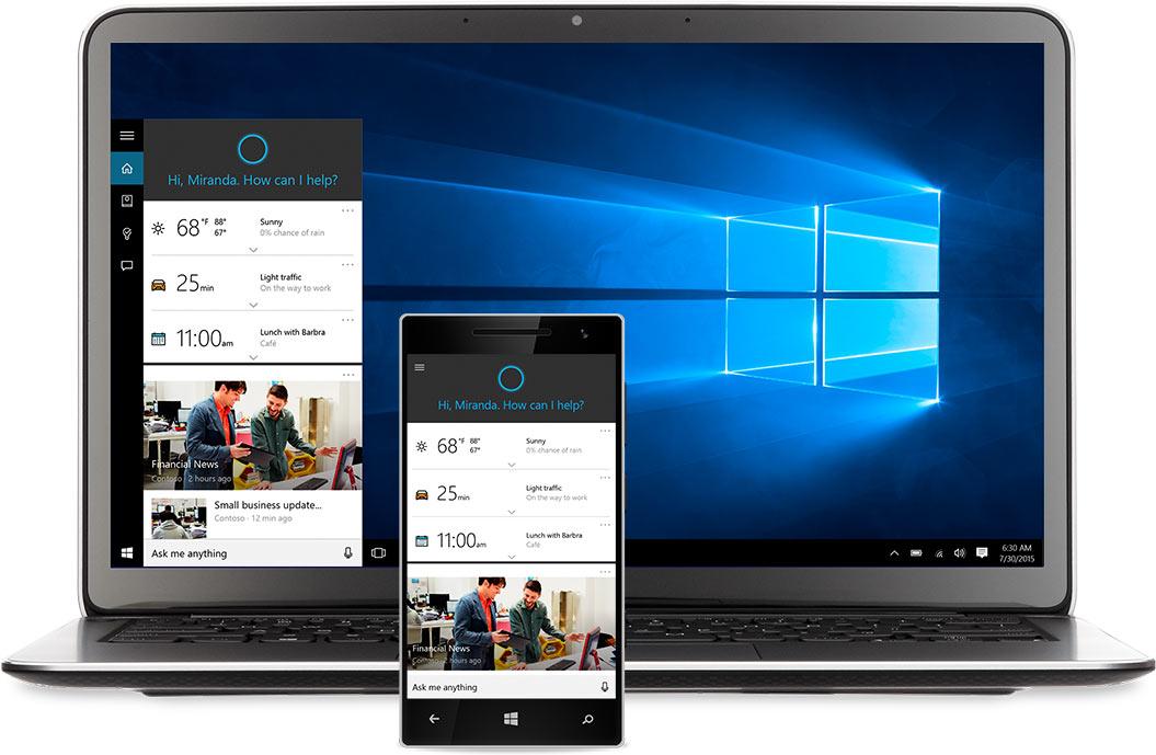 Laptop und Windows-Telefon mit Cortana auf dem Bildschirm