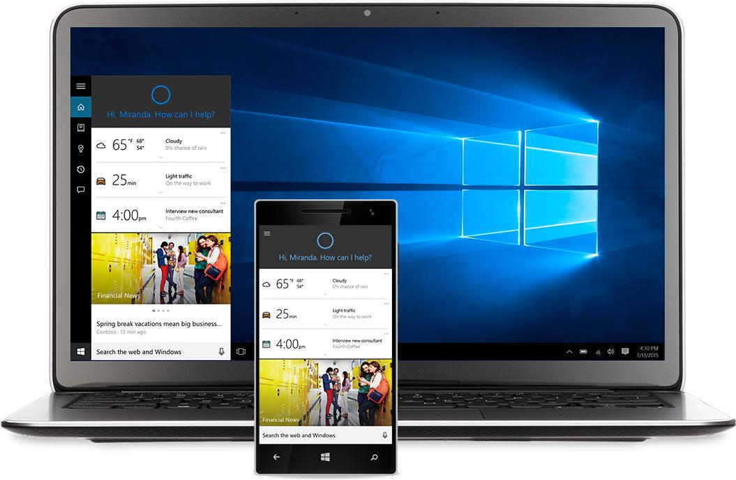 Laptop und Windows Phone mit Cortana auf dem Bildschirm