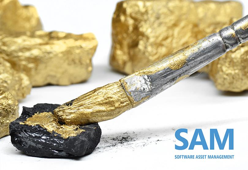 Kohlestücke, die mit einem Pinsel vergoldet werden; SAM-Logo
