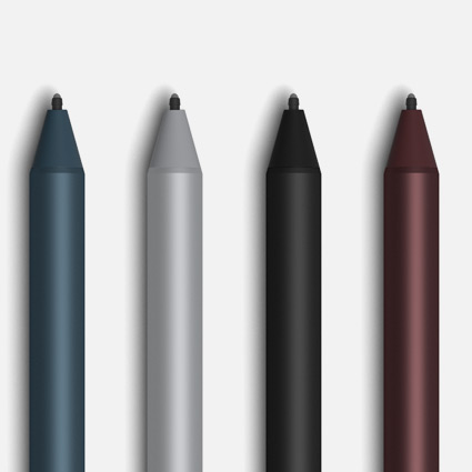 Surface Pen in Kobalt Blau, Platin Grau, Schwarz und Bordeaux Rot