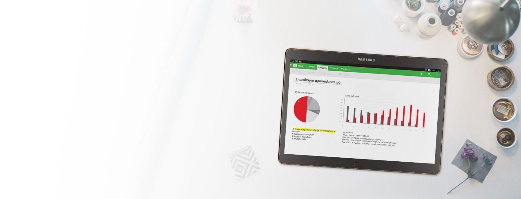 Ένα tablet που εμφανίζει διαγράμματα και γραφήματα επισκόπησης προϋπολογισμού σε ένα σημειωματάριο του OneNote