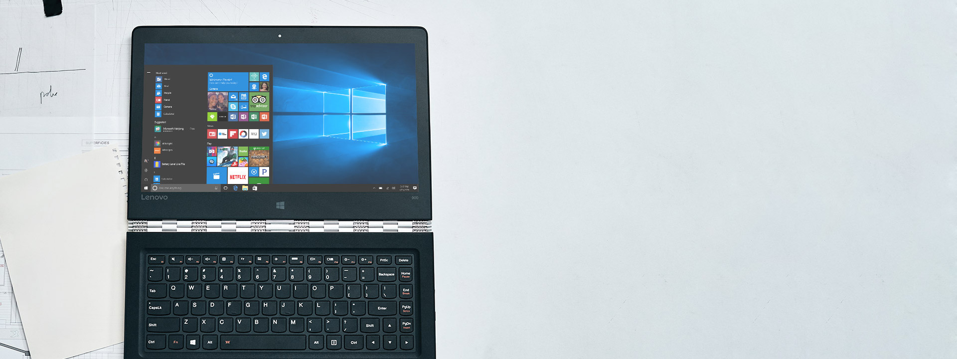 "Lenovo Yoga 900 στο μενού ""Έναρξη"" των Windows 10"
