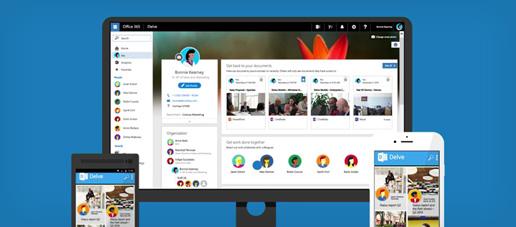 Το Delve εκτελείται σε τηλέφωνο Windows, iPhone και οθόνη επιτραπέζιου υπολογιστή
