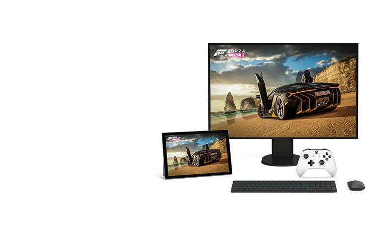 Υπολογιστής και tablet με Microsoft Windows 10 με δυνατότητα παιχνιδιών Xbox, όπως το Forza Horizon 3