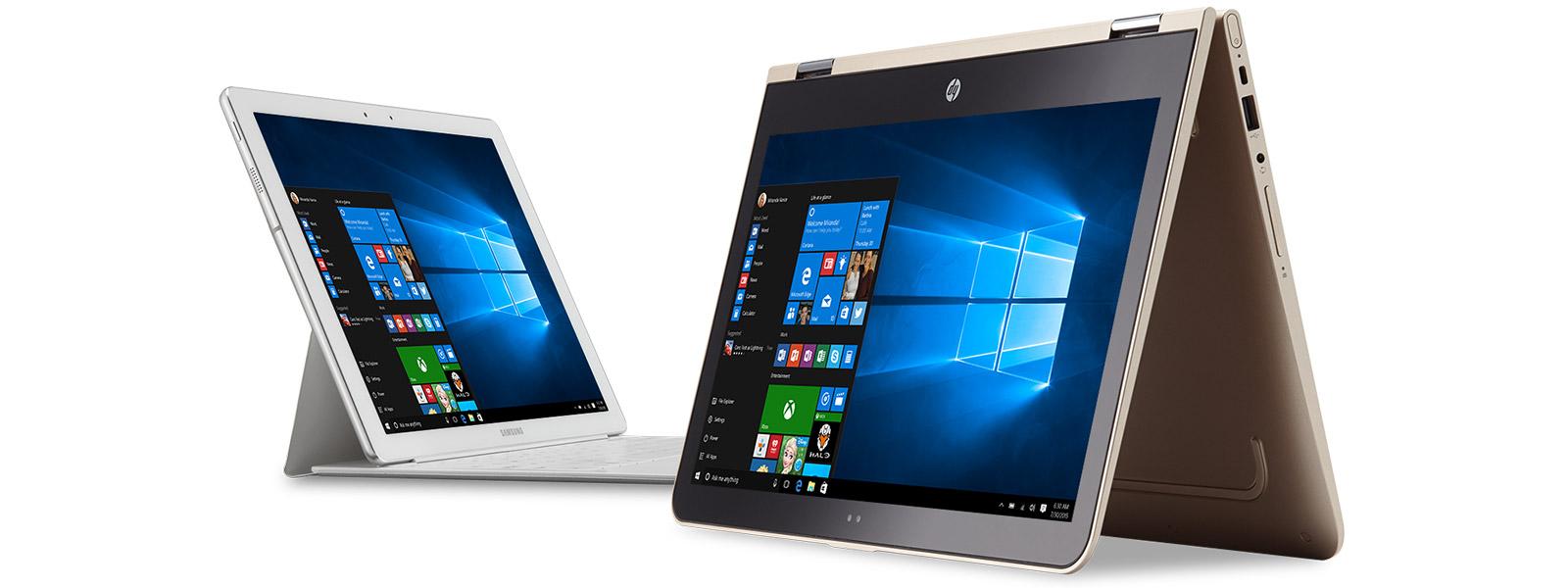 Microsoft devices with Windows start menu