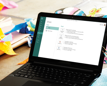 A laptop showing the Share screen in Microsoft Publisher 2013.