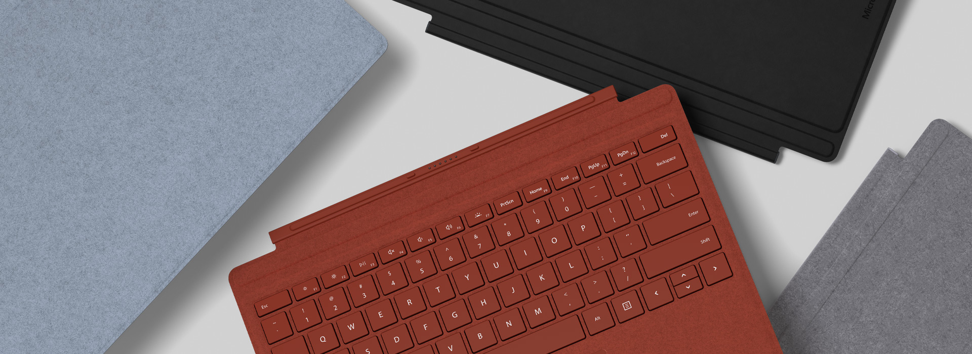 A colourful assortment of Surface Pro Signature Type Covers