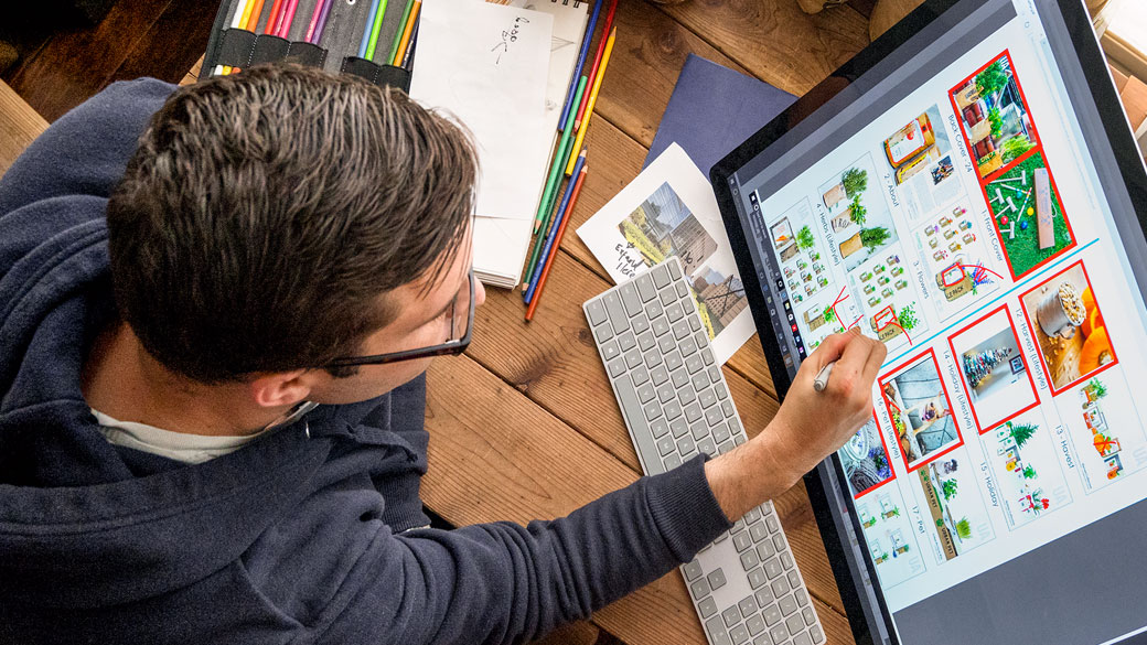Student uses Surface Pen on Surface Studio