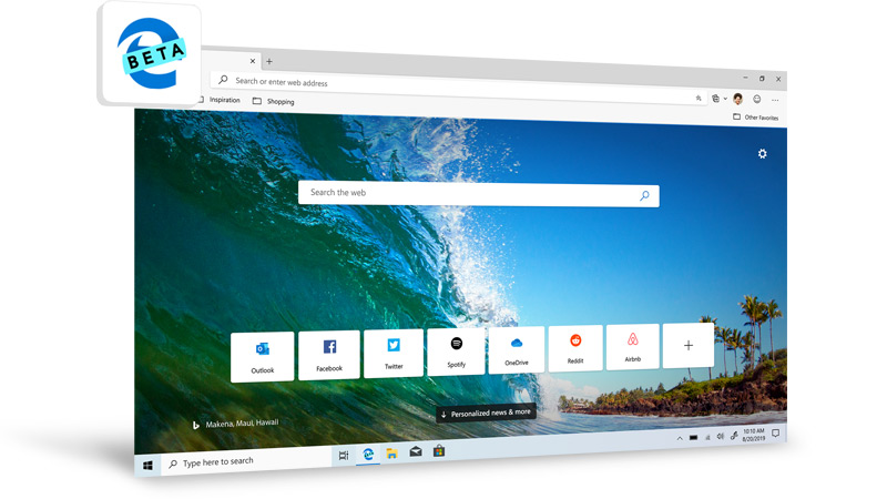 The new look of Microsoft Edge Beta