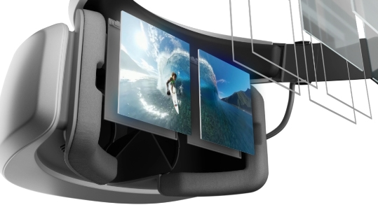 Windows Mixed Reality headset with four interactive hotspots