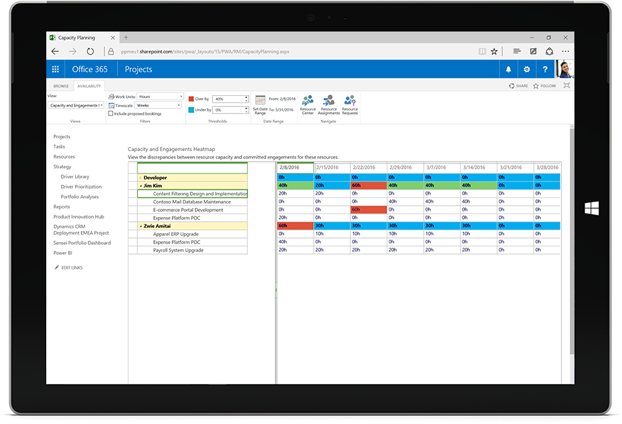 Tablet screen displaying a Microsoft Project capacity and engagements heat map in Office 365.