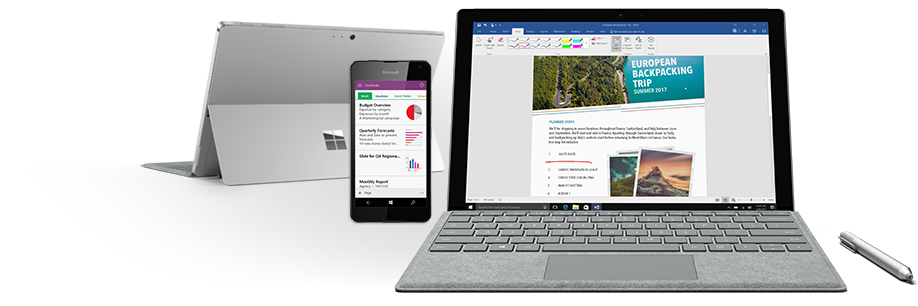 OneNote on a mobile phone and Word on a laptop