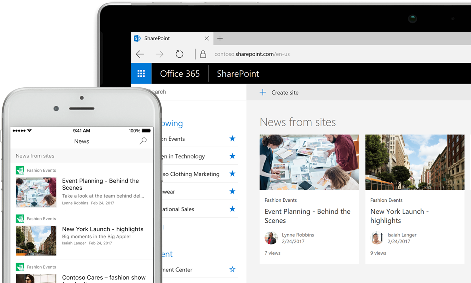 SharePoint with news on a smart phone and with news and site cards on a tablet PC