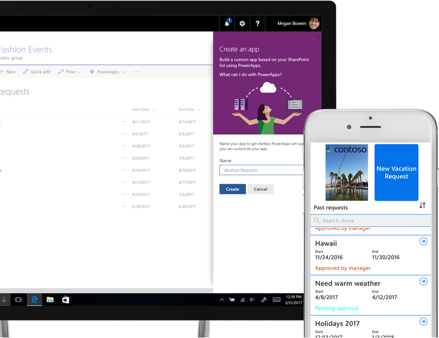 a laptop running a SharePoint vacation-request list and a PowerApps Create app screen next to a smart phone showing a new vacation request created in PowerApps